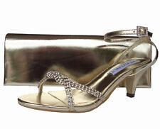 Ladies Wedding Party Low Heel Shoe Evening Sandal Diamante Gold Satin NEW
