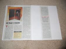 NHT 1.5 Speaker Review, 2 pg, 1998, Specs, Info, Full Test