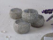 Set di 4,8,12 Argento Perline Portatovaglioli ad anello titolare tabella Portatovagliolo Matrimonio Natale