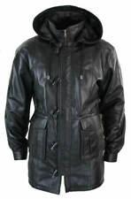 Mens Leather Jacket Black Detachable Hooded Duffel RAF Long Coat SS7