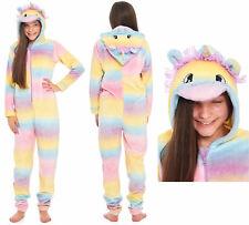 Unicorn Pyjamas Girls Suit Childrens Fleece Hood Rainbow Novelty Sherpa Lining
