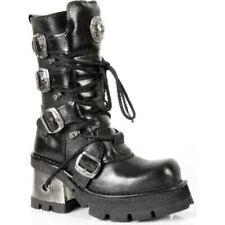 NEWROCK 373-S3 Damen Schwarz Biker Leder Absatz Boots Gothic Punk Emo Rock