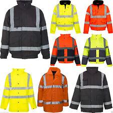 NEUF hommes femmes haute visibilité travail étanche capuche matelassé veste