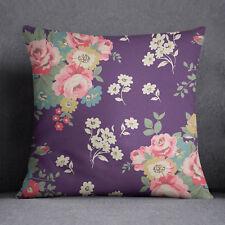 S4Sassy Floral imprimé décoratif violet coussin couverture Throw- PAR-SUB-SAS51C