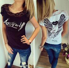 mujer angel alas verano manga corta top camiseta blusas encaje top 34-40 BC261