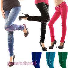 Pantaloni stretch elasticizzati tagli pizzo pants SKINNY jeans hosen X2826A-1
