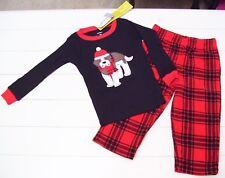Boys Carter's St Bernard Plaid Cotton Fleece Snug Fit Pajamas Sz 3T 4T Nwt