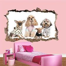 Cani in Sfilata di Moda Distrutto 3d Adesivo Muro Decorazione per Soggiorno Decalcomania Murale