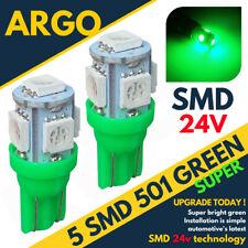 24v Side Light 507 501 W5W 5 SMD Led Green Hella Spot Capless Bulbs HGV Truck