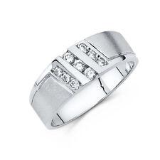 14k White Gold Diamond Men's Wedding Band Ring - all size