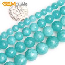 "Blue Amazonite Color Jade Gemstone Round Beads For Jewellery Making Strand 15""UK"