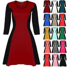 Women Ladies 3/4 Sleeve Contrast Flared  Slimming Effect Skater Dress Plus Size