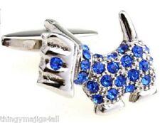 PAIR WESTIE HIGHLAND TERRIER BLUE SILVER DOG CUFFLINKS DRESS SHIRT CRYSTAL UK