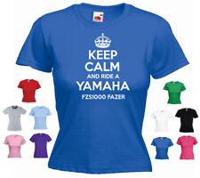 'Keep Calm and Ride a Yamaha FZS1000 Fazer' Funny Ladies T-shirt