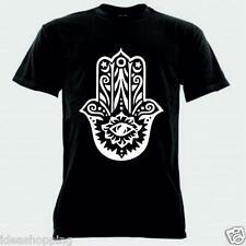 T-shirt nera bianca donna uomo MAGLIA maniche corte con disegno mano di fatima