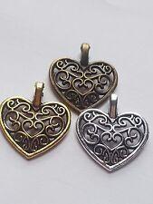 20 X TIBETAN SILVER GOLD PLATED FILIGREE HEART CHARMS