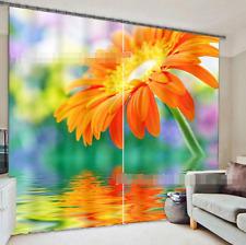 3D Orange Blumen 25 Blockade Foto Vorhang Druckvorhang Vorhänge Stoff Fenster DE