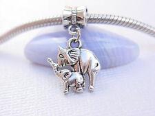 Cute Silver Mom Baby Elephants Add a Slider Dangle Charm fits European Bracelets