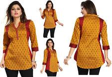 Reino Unido stock-Mujeres Túnica corta india Kurti Kurta Seda Camisa Vestido MM148 Mostaza
