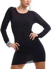 SeXy Miss Damen Long Pulli Nieten Pullover Strick Mini Kleid 34/36/38 schwarz