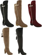 Block Chunky High Low Heel Suede Side Zip Tassel Closed Round Toe Over Knee Boot