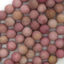 "Matte Pink Rhodonite Round Beads Gemstone 15"" Strand 4mm 6mm 8mm 10mm 12mm"