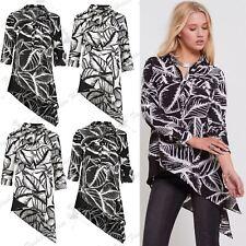 Womens Leaf Printed Ladies Collar Button Asymmetric Side Slant Shirt Dress Top