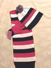 Berkshire Fashions: Girls 3 Pc Scarf/PomPomHat/Glove Set: Navy/White/Pink, 1 Sz