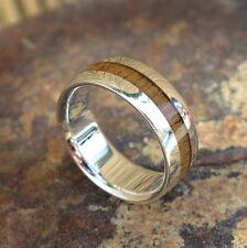 Hawaiian 925 Sterling Silver Light Koa Wood Inlay Wedding Ring Band 8mm SWR1011