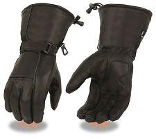 Men's Leather Waterproof Motorcycle Gauntlet Glove w/ Reflective Piping Gel Palm