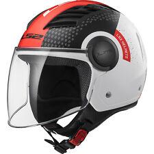 LS2 OF562 Airflow L Condor White Black Red Open Face Motorbike Helmet Crash Bike