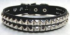 "Black Genuine Leather Studded Dog Collar With 2 Row 1/4"" Pyramids 10 11 12 13"""