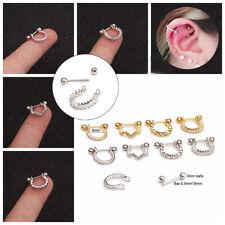 Helix Ear Studs Tragus Earrings Half Circle Barbell Bar Rhinestone Cartilage