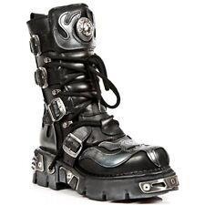 New Rock schwarz silber 107-S2  Metallic Boots Schuhe Echtleder Gothic Punk Rock