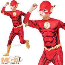Il flash + Maschera ABITO FANTASIA RAGAZZI DC Comic SUPEREROI Kids Bambino Costume Outfit
