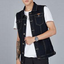 Mens Casual Waistcoat Denim Vest Jean Jacket Sleeveless Vintage Punk Blue M-8XL