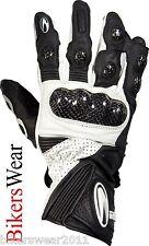 Richa WSB Black / White Motorcycle Leather Gloves Finger Bridge & Carbon Armour