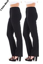 Mesdames finement côtelé bootleg stretch pantalon (2 paires en noir) taille 10 à 24