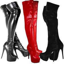 Señoras para mujer Negro sobre la rodilla muslo de tacón alto Stretch Cuero Gamuza Botas Zapatos