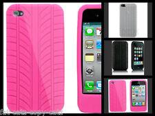 Neumático pisada APPLE iPHONE 4 4S Silicona Gel Funda Rosa Negro Blanco vendedor del Reino Unido