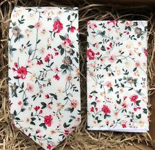 Floral Pink Necktie and Pocket Square Set / Pink Men's Tie Set /Wedding Ties /UK