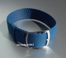 Eulit * Perlon * Durchzugsband Uhrenarmband * Kristall * blau * 12 mm , 18 mm