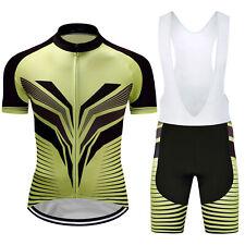 Sports Cycling Jersey Bib Shorts Set Men's Bike Bicycle Short Sleeves Wear Suits