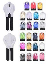 7pc Teen Kid Boy Formal Necktie Black White Suit Set Satin Bow Tie Vest sz 5-20