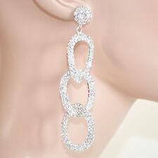 ORECCHINI donna argento cerchi strass cristalli sposa cerimonia earrings 400A