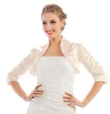 HBH Brautmoden Satin Bolero Jacke mit 3/4 Ärmeln,Gr.34-Gr.54, weiß oder Ivory