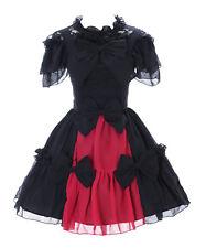 jl-656 Negro Rojo Chifón Encaje Vampiro OSCURO Vestido Gótico de Lolita Traje