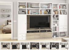 Toro Wohnwand TV Bücherregal Regalsystem mit TV Lowboard weiß Lack mit Absetzung