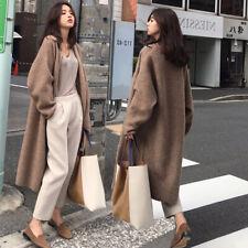 Womens Cashmere Wool Blend Knitted Sweater Cardigan Outwear Warm Long Coats S-XL