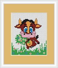 Kit point de croix vache par Luca s idéal pour débutant 9cm x 9cm sur 14 Comte Aida